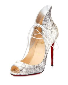 Christian Louboutin Open Toe Mega Vamp Red Sole Grey Pumps
