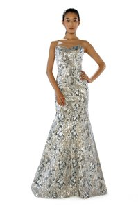 Theia Jacquard Brocade Strapless Evening Gown Dress