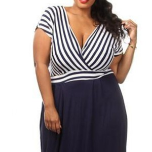 Navy and White Maxi Dress by Pink Club Wear