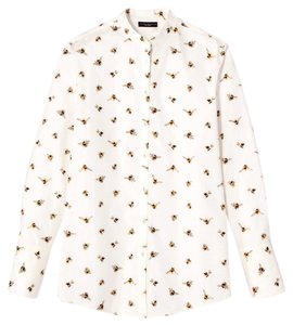Victoria Beckham for Target Bee Bee Print Button Down Shirt White, Gold, Black