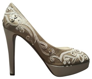 Moschino Gold and White Pumps