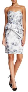 Mikael Aghal short dress Grey & White Garden Strapless on Tradesy