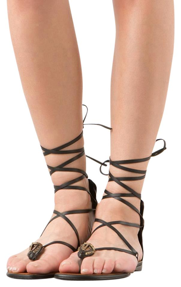 Popular Valentino Brown Black Tribe Leather Lace-up Gladiator Sandals Size  IC42