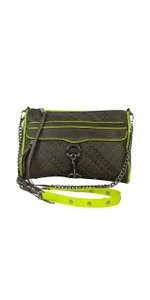 Rebecca Minkoff Grey & Neon Leather Mac Daddy Cross Body Bag