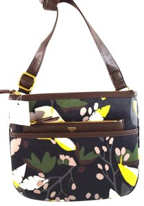 Fossil black floral Messenger Bag