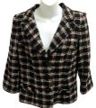 Milly of New York Tweed Plaid Fitted Black Blazer Image 0