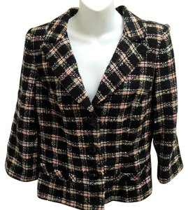 Milly of New York Tweed Plaid Fitted Black Blazer