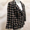 Milly of New York Tweed Plaid Fitted Black Blazer Image 1