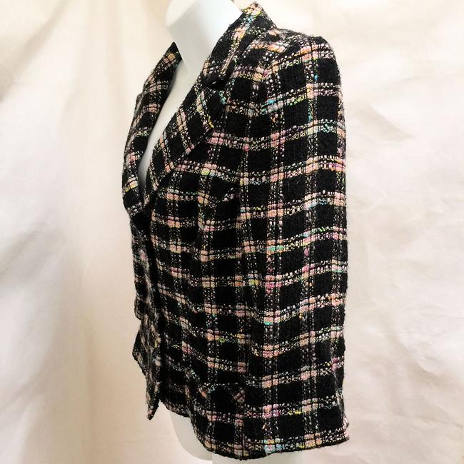 Milly of New York Tweed Plaid Fitted Black Blazer Image 2