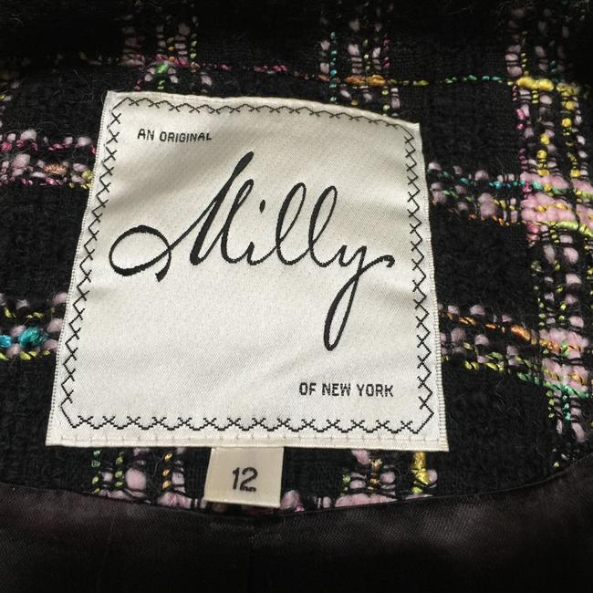 Milly of New York Tweed Plaid Fitted Black Blazer Image 3