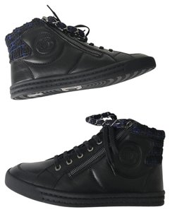 Chanel Boots Booties Ankle Boots Sneaker Sneakers Navy Blue Black Athletic