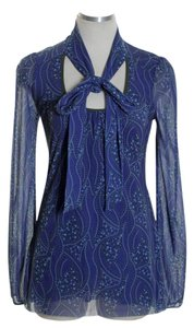 Sweet Pea by Stacy Frati Print Long Knit Top Blue