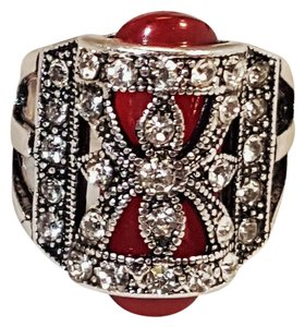 Other Vintage Style Silver Plated Rhinestone Red Resin Ring Size 6