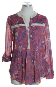 Maeve Long Woven Print Top Red