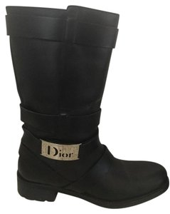Dior Leather Buckle Black Boots