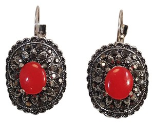 Other Vintage Style Silver Plated Rhinestone Red Resin Earrings