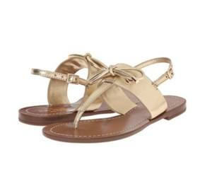 Kate Spade Bow Decoration Metallic Tumbled Leather Gold Sandals