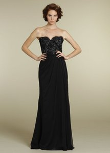 Jim Hjelm Occasions Black, With Grey Under Lace Bridesmaid Lace Luminescent Chiffon Strapless; Style 5227 Dress