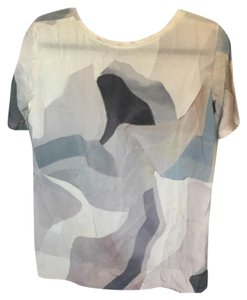 Theory Top gray, blue, silver, green