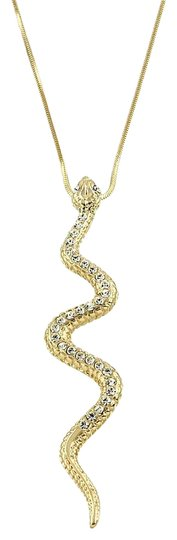 Preload https://img-static.tradesy.com/item/21143893/gold-clear-rhinestone-crystal-accent-snake-chain-snake-pendant-charm-necklace-0-1-540-540.jpg