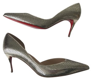 Christian Louboutin Galupump Iriza Stiletto Patent Glitter Light Gold Pumps