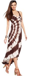 Brown/White/w-Crystal Rhinestones Maxi Dress by INC International Concepts