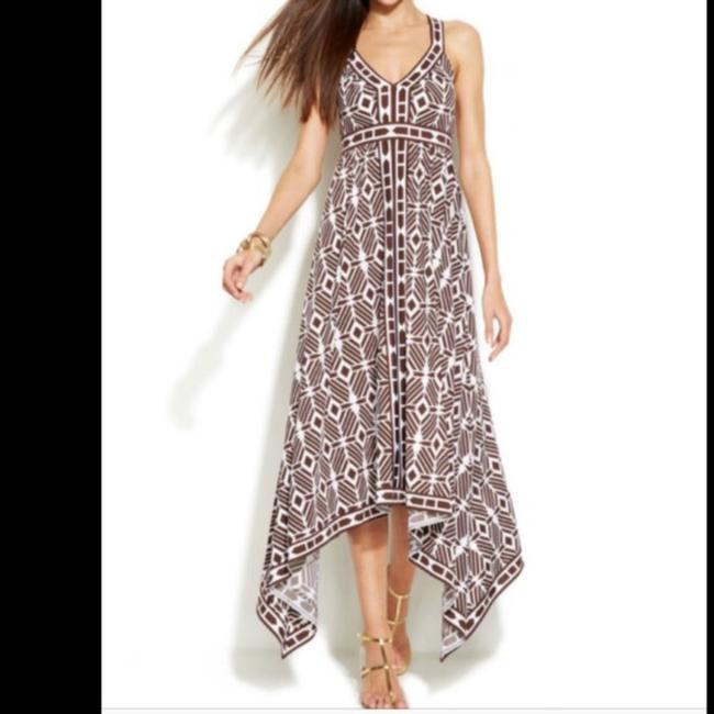 Brown/White Maxi Dress by INC International Concepts Image 2