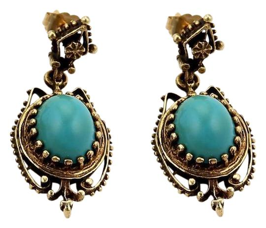 Modern Vintage Oval Turquoise Dangle 14k Yellow Gold Earrings Image 0