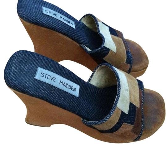Preload https://img-static.tradesy.com/item/21143984/jean-wooden-sole-fabric-upper-leather-lining-wedges-size-us-7-0-1-540-540.jpg