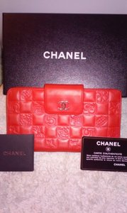 Chanel Authentic CHANEL Red Bifold Wallet Purse Chanel Giftbox Card