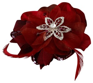 Elegance By Carbonneau Red Bridal Feather Fascinator Clip Brooch 8106