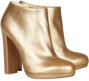 Christian Louboutin Hardware Metallic Rock & Ankle Round Toe Gold Boots