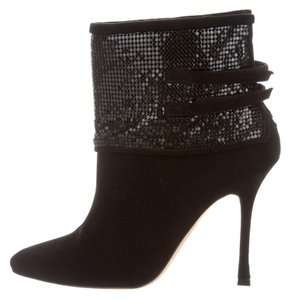 Manolo Blahnik Embellished Ankle Pointed Toe Crystal Chain Black Boots