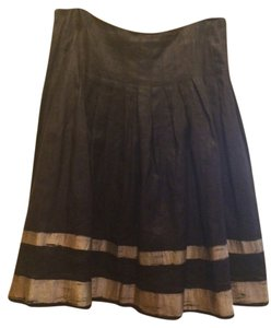 Ralph Lauren Black Linen Lined Lunch Dinner Evening Dressy Stylish Classic Pleated Dryclean Only Machine Washable Summer Spring Skirt black/gold
