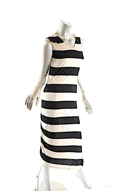 Beige and Navy Maxi Dress by Dim E Cres & Horizontal Stripe Maxi Image 2