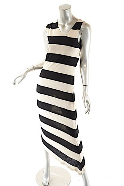 Beige and Navy Maxi Dress by Dim E Cres & Horizontal Stripe Maxi Image 6