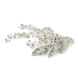 Elegance by Carbonneau Antique Silver Sparkling Rhinestone Covered Leaf Swirl Clip 9515 Hair Accessory