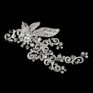 Elegance By Carbonneau Silver Sparkling Rhinestone Covered Leaf Swirl Hair Clip 9515