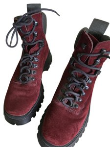 Prada Red Suede Leather Boots