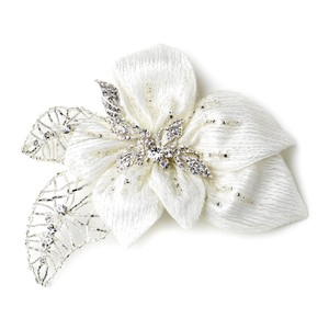 Elegance By Carbonneau Fabric Accented W/ Crystals Rhinestones Flower Hair Clip 9633