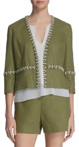 Tory Burch Embellished Linen Polyester Cotton Casual green Jacket