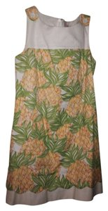 Lilly Pulitzer short dress Yellow green Designer Shift Sundress Linen on Tradesy