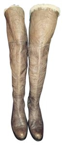 Sam Edelman Riding Over The Knee Lambskin Distressed Brown Boots