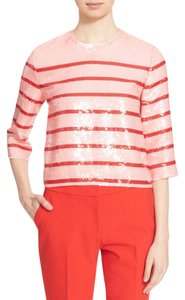 Kate Spade Sequin Striped Sparkle Party Polyester Top pink/red