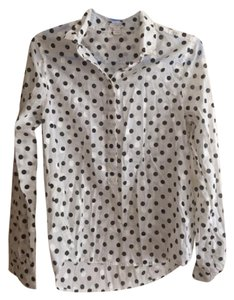 J.Crew Button Down Casual Top white and black polka dot