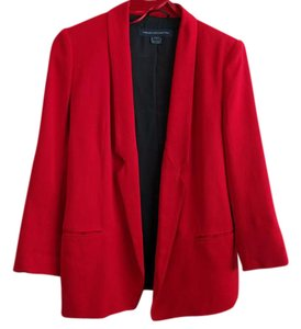 French Connection Red Jacket Lined Open Front Salsa Red Blazer
