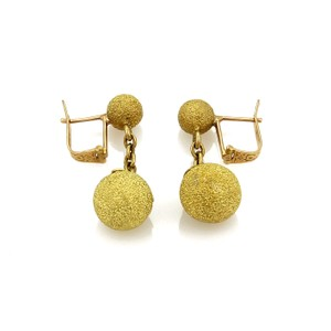 Modern Vintage #20165 Estate 18k Gold Double Textured Ball Drop Dangle Earrings