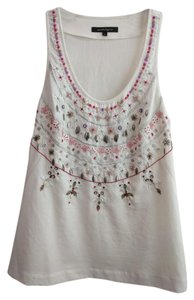 Nanette Lepore Silk Beaded Lined Embellished Top Light Festival Tank