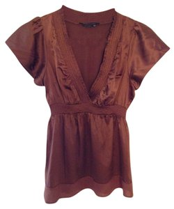 BCBGMAXAZRIA Satin Silk Top Brown