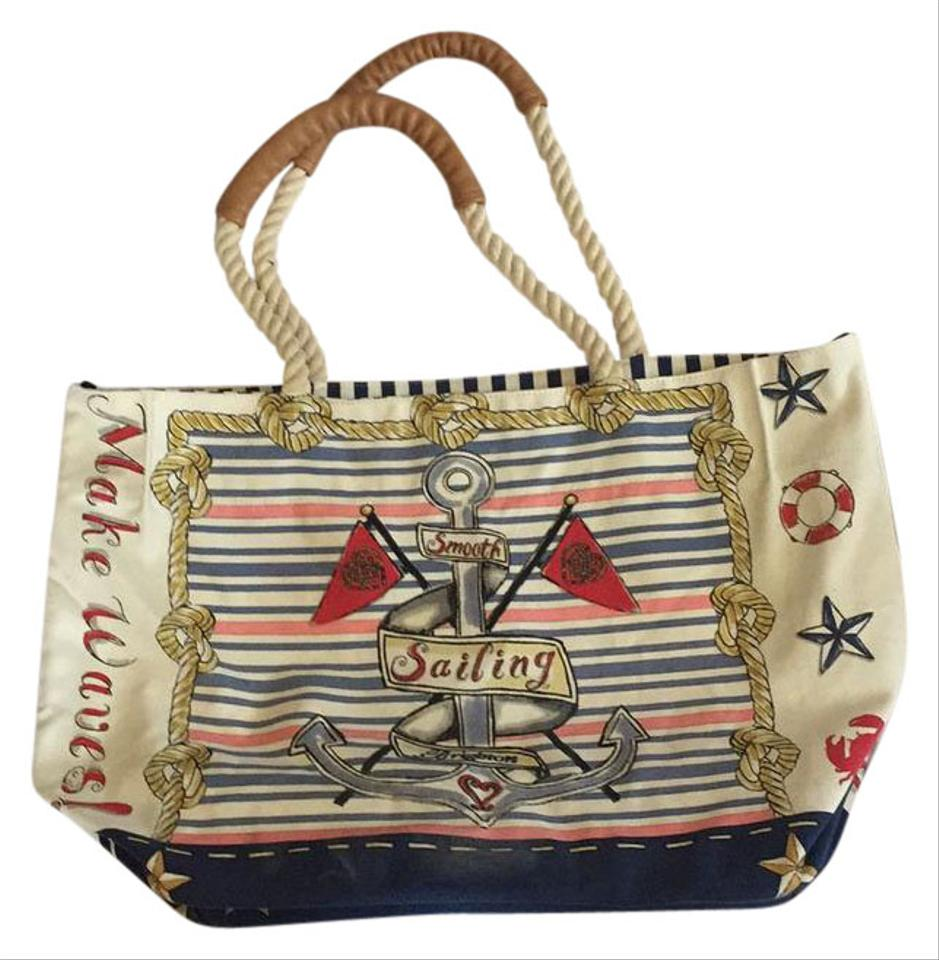 Brighton Just Sailing Beach Tote Navy Blue And Cream Beach Bag on ...